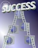 Steps to success. Transparent cubes with a globe inside them representing steps to success Stock Images