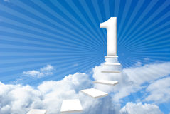 Steps to success. Three-dimensional steps into the sky, your way to success Stock Photo