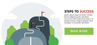 Steps to success concept. Next level, upgrade reach goal, higher and better, motivation and improvement. Steps to success banner concept. Next level, upgrade royalty free illustration
