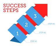 Steps to Success. Business concept. Flat vector illustration of wrapped red arrow with stages of development. Isolated infographic elements for web, internet Royalty Free Stock Images