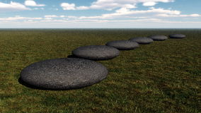 Steps to the success- 3D render. Grey stones steps upon the ground going to the horizon by day - 3D render Stock Photo