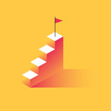 Steps to success. With the flag at the top. The concept of achievement, business motivation. Vector illustration in trendy style Royalty Free Stock Photography
