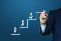 Steps to success and growth of money. Steps to success and growth of money design Royalty Free Stock Images