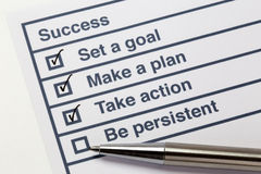 Steps to success list. With tick marks and checkboxes stock photography