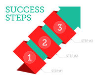 Steps to Success 2. Steps to Success science research concept. Flat illustration of wrapped green arrow with stages of goal achievement. Isolated vector Royalty Free Stock Photo