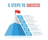 5 Steps to Success. Infographics, leadership or motivation concept Stock Images