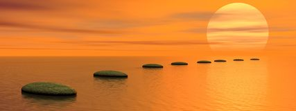 Steps to the sun. Grey stones steps upon the ocean going to the sun by sunset Stock Image