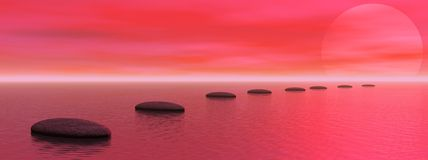 Steps to the sun. Grey stones steps upon the ocean going to the sun by red sunset Stock Photos