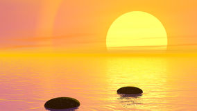 Steps to the sun - 3D render. Camera moving forward to let appear steps to the sun by orange sunset over the ocean vector illustration