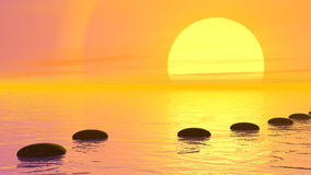 Steps to the sun - 3D render. Stones moving quietly on the water into a row to the sun by orange sunset over the ocean stock illustration