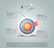 Steps to target infographic 4 options, Business concept infographic template Stock Photos