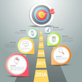 Steps to target infographic 6 options, Business concept  Stock Photography