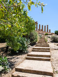 Steps to Temple of Juno Hera in Agrigento Stock Image