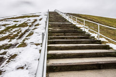 Steps to Top of Mount Trashmore with Melting Snow Royalty Free Stock Photos