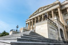 Steps to the United States House of Representatives. These stairs lead to the United States House of Representatives on Capitol Hill in Washington DC Stock Image