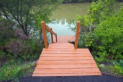 Steps to the Water. Wooden steps leading to the Erie Canal, Pittsford, New York Stock Photo