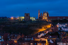 199 Steps to Whitby churches at night Royalty Free Stock Image