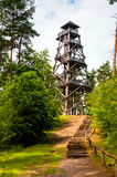 Steps to wooden tower in forest Stock Images
