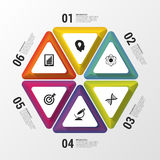 6 Steps in Triangle. Infographic design template. Business concept. Vector illustration.  Royalty Free Stock Photo