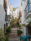 Steep cobbled steps in a white washed village Stock Photos