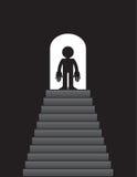 Steps up to Figure Doorway. Steps leading up to figure standing in doorway Royalty Free Stock Image