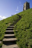 Steps up to glastonbury tor Stock Photos