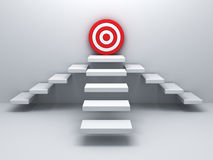 Steps up to goal target business concept over white wall Royalty Free Stock Images