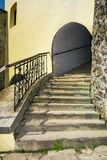Steps upstairs in to the tower. Steps upstairs in to the clock tower of Palanok Castle. Old fortification now serves as the museum and is popular tourist Royalty Free Stock Photo