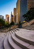 Steps and view of buildings in downtown Baltimore, Maryland. Stock Photos
