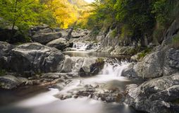 3 steps waterfall. Three steps waterfall in long-time exposure Stock Photo