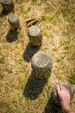 Steps in a wooden balance course Royalty Free Stock Photo