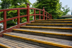 Steps of wooden bridge Royalty Free Stock Photography