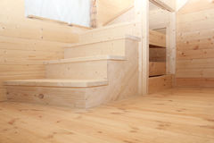 Steps of wooden loft stairs under conctruction Royalty Free Stock Photography
