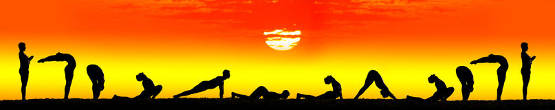 Steps of Yoga surya namaskar sun salutation Royalty Free Stock Image