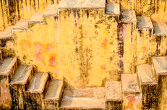 The stepwell of Jaipur, Rajasthan, India. Detail of the Panna Meena ka Kund walls, covered by criss-cross stairs Royalty Free Stock Photos