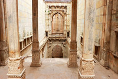 Stepwells bundi india. Enchantingly carved stepwell with delicate ornamental carvings Stock Photography