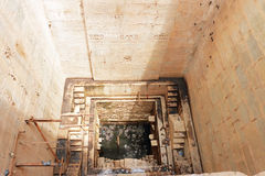 Stepwells bundi india. Enchantingly carved stepwell with delicate ornamental carvings Royalty Free Stock Images
