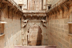Stepwells bundi india. Enchantingly carved stepwell with ornamental carvings and sculptures Royalty Free Stock Images