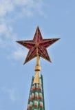 Ster bovenop de Spasskaya-Toren, het Kremlin, stock foto's