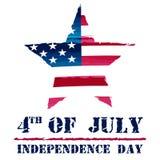Ster in de tekeningsvlag van de V.S. en 4 van Juli - Amerikaanse Onafhankelijkheid Royalty-vrije Stock Foto's