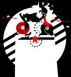 Ster DJ. zwart-rood-wit   royalty-vrije illustratie