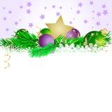 Ster en ballen 3 van Kerstmis Stock Afbeeldingen