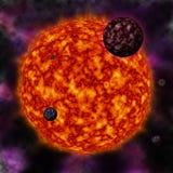 Ster en planeten stock illustratie