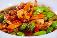 Ster-fried Thai Flat Beans with shrimp Royalty Free Stock Images
