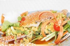 Ster gebraden krab met kerriepoeder Royalty-vrije Stock Fotografie