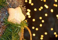 Ster gevormd koekje met gepoederde suiker Stock Fotografie