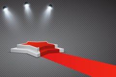 Ster gevormd podium met rode tapijt en schijnwerpers royalty-vrije illustratie