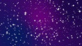 Ster lichte deeltjes die zich over purpere achtergrond bewegen stock illustratie