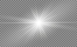 Ster op een transparante achtergrond, lichteffect, illustratie explosie met fonkelingen Stock Foto