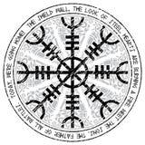 Ster respekt, ster terror, Islandzkie magiczne klepki z scandinavian wzorem, Aegishjalmur ilustracji